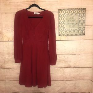 & Other Stories Red Long Sleeve Mini Dress Size 4